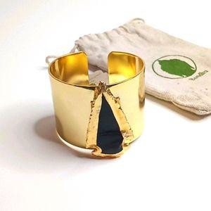 Bondhu Black Stone Gold Tone Cuff Bracelet